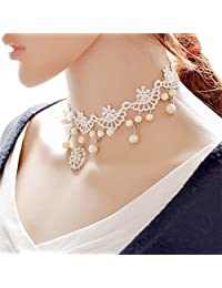 Kissweet White Lace Choker Necklace Elegant Necklace Pearl Pendant Choker for Women