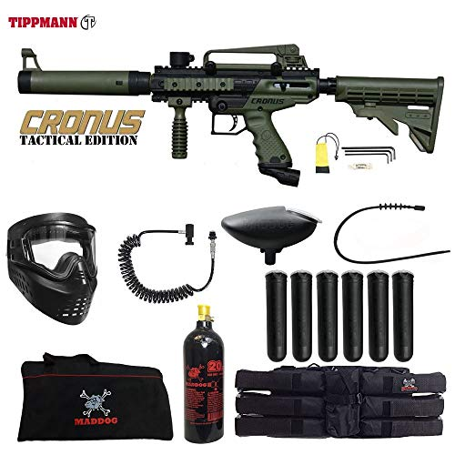 MAddog Tippmann Cronus Tactical Corporal Paintball Gun Package - Black/Olive