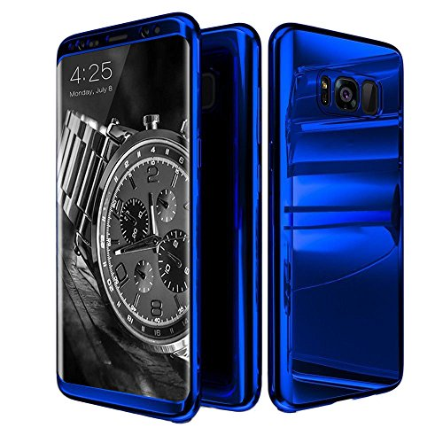Galaxy S8 Plus Case,ATOOZ Ultra Slim 360 Degree All-Around Full Body Coverage Electroplating Mirror Lightweight Shockproof Hard Case Cover for Samsung Galaxy S8 Plus 6.2 Inch (Blue)