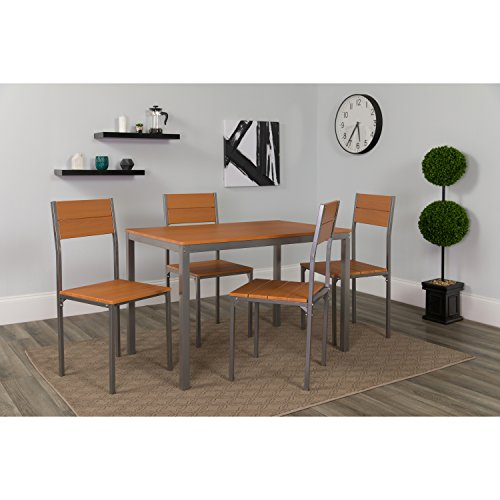 Dinette Finish Set Cherry (Flash Furniture Castleton 5 Piece Cherry Finish Dinette Set with Chairs)