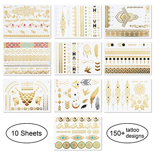 10 Sheets Temporary Tattoos - Over 150 Body Sexy Lace Tattoos Pattern Gold And Silver Professional Dancer Flash Waterproof Stickers Party Supplies]()