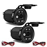 ZHSMS 3.1A Dual USB Car Charger Socket 12V/24V Waterproof Power Outlet for Car Boat Marine Motorcycle 2 Pack