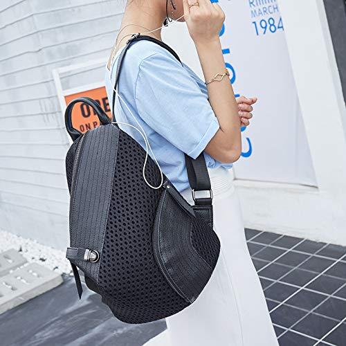 à à Coréenne En à Femme Personnalité Sac WDBAO Maille à Sac L'eau Sac Imperméable Dos Sac Dos Main à Main Boulette Black Version xH8qOw