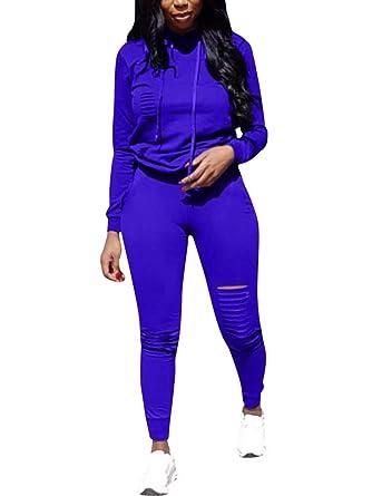 Minetom Femmes Jogging Yoga Gym Survêtement Sports Suits Manches Longues  Sweat-Shirt à Capuche et 0494852152f