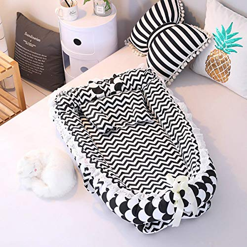 WANNISHA Baby Lounger Baby Nest Portable Co-Sleeping Crib Breathable Portable Adjustable Newborn Lounger CribHypoallergenic 100 Cotton