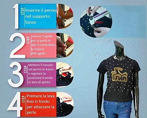 GIORGETTI STRASS Macchina Pinza applicatore torchietto per attaccare Fissare Perle Perline tonde Rotonde Vestiti Decorazioni Pelle Borse Scarpe Tessuto Manuale