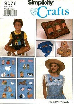 Simplicity 9078 Crafts Pattern Appliques 24 Different & People - Applique Lamb