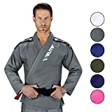 Elite Sports New Item IBJJF Ultra Light BJJ Brazilian Jiu Jitsu Gi w/Preshrunk Fabric & Free Belt (Gray, A1)