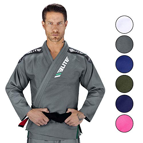 (Elite Sports IBJJF Ultra Light Brazilian Jiu Jitsu Gi with Preshrink Fabric and Free Belt, Grey, A3)