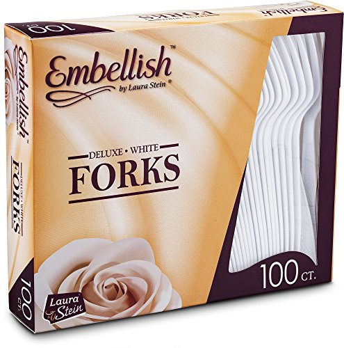 [100 Forks] Embellish White Disposable Heavy Duty Plastic Forks, Ideal for Wedding, Catering, Parties, Buffets, Events, Or Everyday Use,