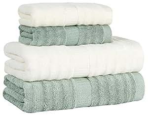4 piezas de fibra de bambú juego de toallas: 2 toallas de ducha, 2