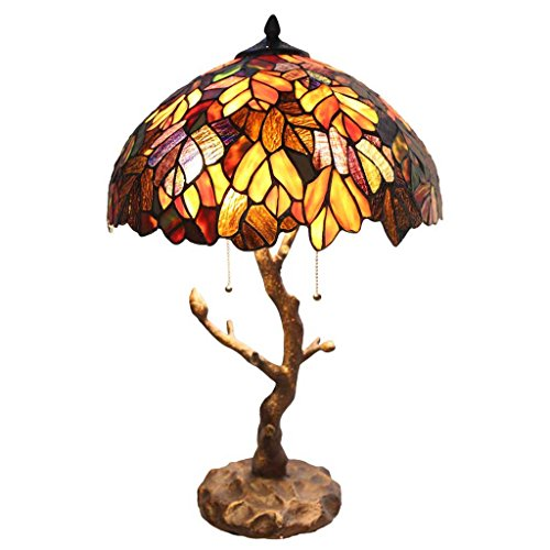 Tiffany Style Stained Glass Table Lamp: 24.5 Inch Victorian Style Colorful Maple Leaf Accent Lamp with Vintage Bronze Tree Trunk Base - High-End, Decorative Table Lamps for Small Elegant Home Decor Amber Victorian Table Lamp