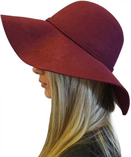 Womens Elegant Luxury 100% Wool Floppy Fedora Hat with Bow, Burgundy