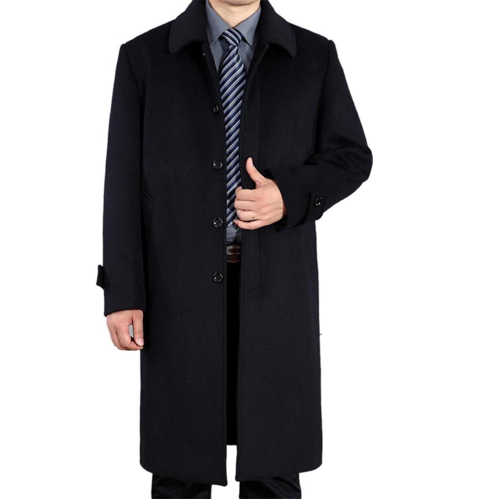 Klorim Men's Classic Single Breasted Overcoat Long Wool Coat (US Size M, Black Blue)