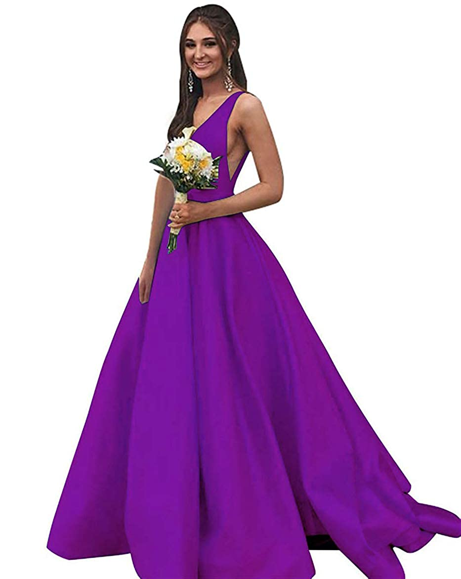 Purple Stain VNeckline Long Prom Gown 2019 Formal Ball Dress Maxi Skirt with Pockets