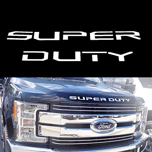 (9) Glossy White Thin Vinyl Super Duty Letter Inserts For 2017-up Ford F-250 F-350 F-450 F-550 Front Hood/Grille
