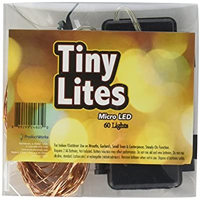 Tiny Lites Battery Operated Copper Wire Indoor and Outdoor LED Light String, Warm White, 20-Feet