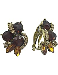 Abstract Rhinestone Clip on Formal Fancy Earrings