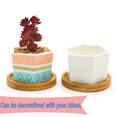 YYKIT 4 Pack Planter Pots Indoor,1.97 Inch Mini White Ceramic Succulent Cactus Flower Plant Pot with Bamboo Tray for Home Garden Kitchen Office Desk Decor