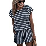 Asskdan Women's Summer Striped Jumpsuit Playsuit Casual Loose Short Sleeve Jumpsuit Rompers (M, Gray)