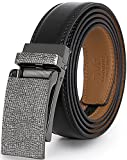 Marino Avenue Men's Genuine Leather Ratchet Dress Belt with Linxx Buckle - Gift Box (Frosted - Black, Adjustable from 28' to 44' Waist)