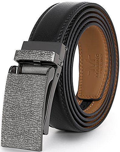 Marino Avenue Men's Genuine Leather Ratchet Dress Belt with Linxx Buckle - Gift Box (Black - Style 136, Adjustable from 38