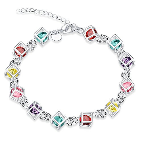 Xiaodou 925 Sterling Silver Colorful Cube Crystal Zirconia Chain Link Adjustable Bracelet Lobster Buckle