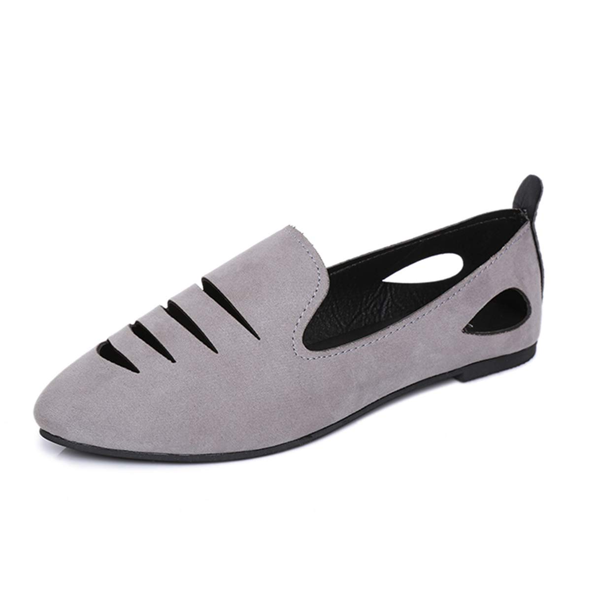 3 Colors Pointed Toe Cut Outs Loafers Ballet Slip On Shoes Women Solid Flats