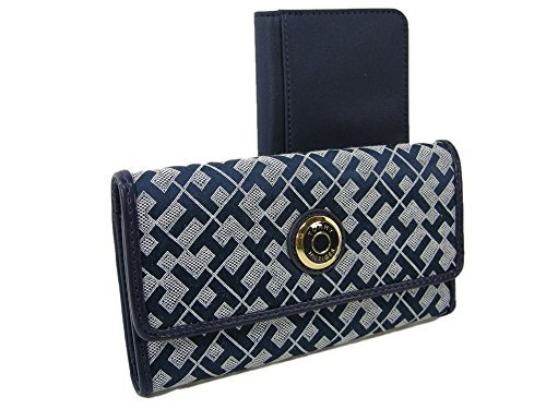 New Tommy Hilfiger TH Logo Wallet & Checkbook Cover 2 Piece Set Blue Duplicate Flap