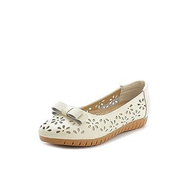 Zapatos de Mujer 2018 Zapatos de Verano Madre Zapatos de tacón Hueco Planos Boca Baja Sandalias