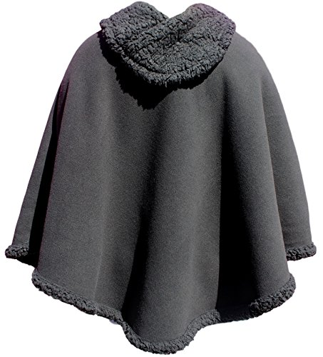 Trade MX Unisex Polar Fleece Pullover Poncho Sweater Cape One Size (Assorted Colors) (Black)