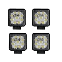 TURBO SII 4pcs 27w 4 Inch Led Work Light 2200LM Square Driving Pods Spot Beam Off Road Lighting For Suv Boat 4X4 Jeep JK 4Wd Truck 12V-24V IP67 Waterproof