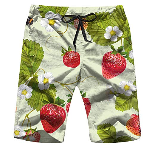 Cool pillow Strawberry Design Food and Drink Mens Boardshorts Swim Trunks Quick-Drying Running Shorts M