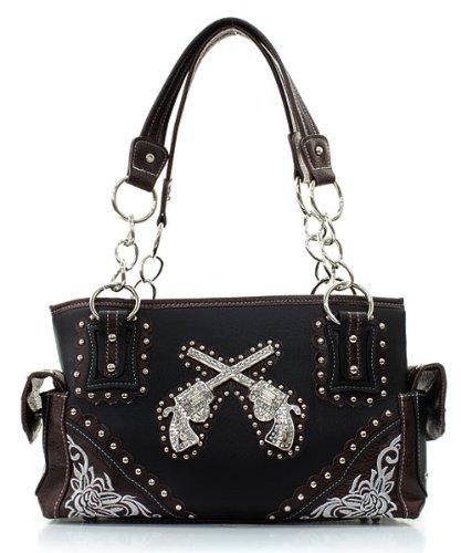 Wholesale Designer Inspired Handbags - Western Rhinestone Studded Six Shooter Guns Faux Leather Handbag