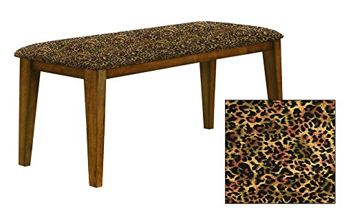 "Oak Finish 19"" Tall Universal Bench Featuring a Padded Seat Cushion With Your Choice of an Animal Print Fabric Covered Seat Cushion (Cheetah Small Cotton) (Seating Small Banquette Dining Room For)"