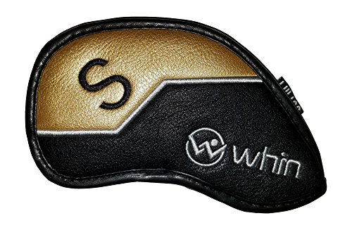 Gold Club Headcover (PREMIUM Golf Club Iron Headcovers by WHIN Sports (Singles) (Sand (S) Wedge - Gold))