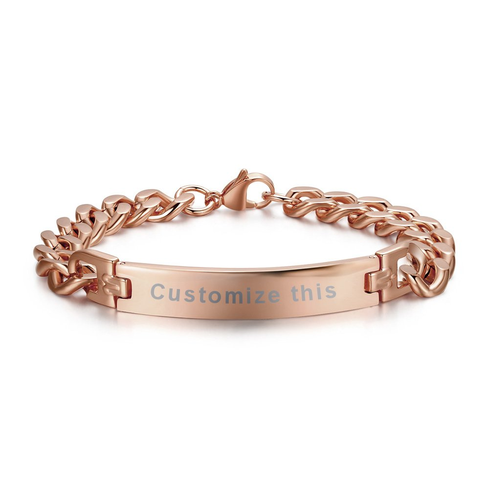 PJ Personalized Custom Engraving Plain Stainless Steel ID Bracelets for Men Women,Rose Gold Plated,8.3''