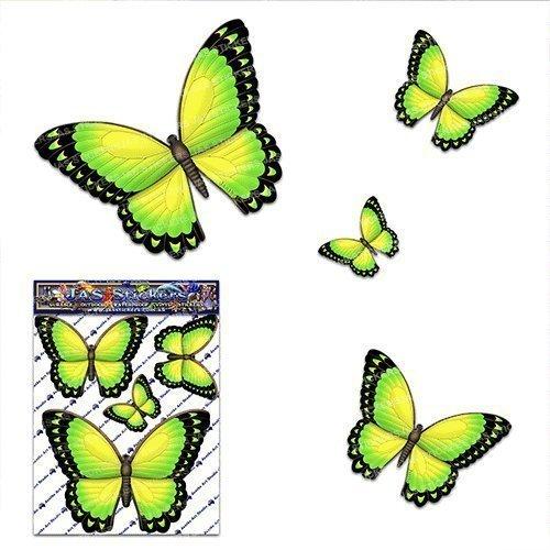 Pegatina del coche de la etiqueta engomada del coche del vinilo animal pequeño amarillo de la mariposa para la computadora portátil, caravanas, camiones, barcos ST00025YW_SML - JAS Stickers