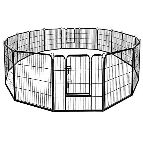 Giantex 40/48inch Dog Playpen with Door, 16/8 Panel Pet Playpen for Large Dogs Pets, Portable Freestanding Dog Exercise…