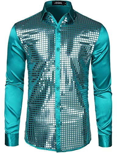 JOGAL Mens Dress Shirt Silver Sequins Long Sleeve Button Down 70s Disco Shirt Party Costume XX-Large A348 Green