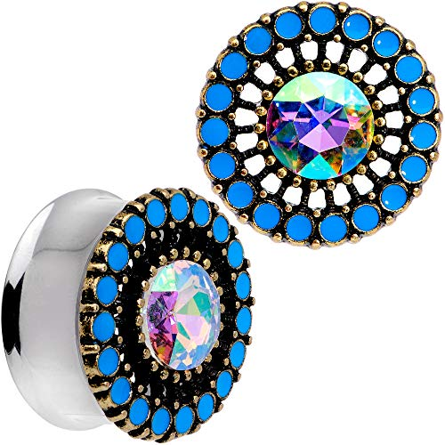 Body Candy 2Pc 316L Steel Double Flare Tunnel Plug Aurora Accent Nautical Ear Plug Gauges Set of 2 25mm