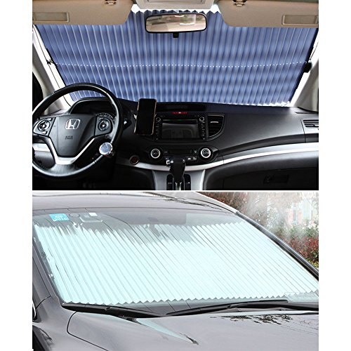 "Universal Fit Car retractable windshield sun shade for most car Trucks SUV UV Protection Front Windows SunShade Roller,Easy to install (63""X27.6"")"