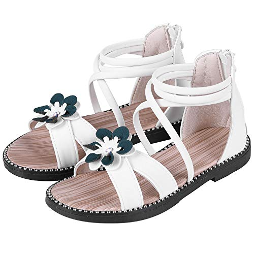 Kids Dress Sandals - shevalues Girl's Open Toe Sandals White Flower Flat Sandals Dress Sandals for Kids WT35