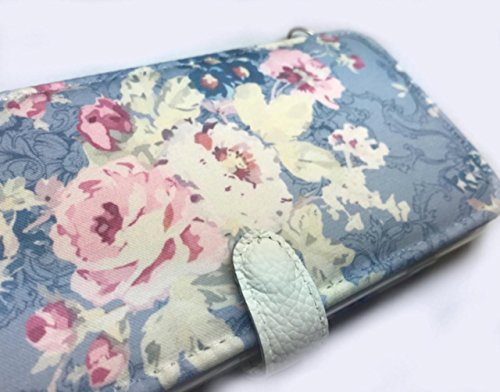 Snap Phone Htc (Blue Shabby floral HTC 10 Phone wallet case …)