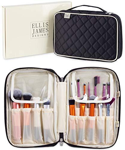 Ellis James Designs Makeup Brush Case Bag Organizer in Black - Professional Designer Make Up Travel Handbag for Make Up Brushes - Stylish & Compact Carrying Holder Storage Handbag Pouch ()