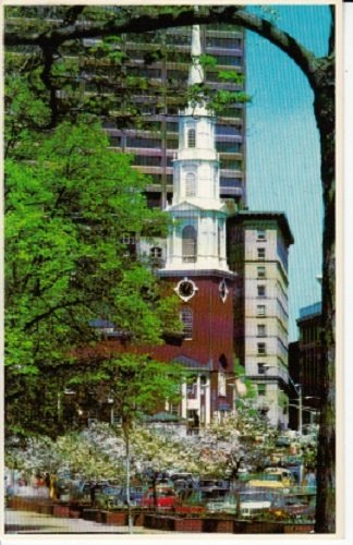 Unused Postcard Park Street Church From Boston Common and Tremont Street Mall, Boston, - The Mall Commons