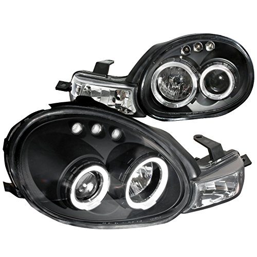 Halo Black Neon Projector (Spec-D Tuning LHP-NEO00JM-TM Dodge Plymouth Neon Black Dual Halo Led Projector Headlights Parking Lights 1Pc)