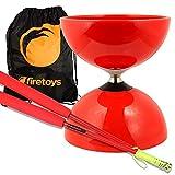 yo yo starter kit - Red Big Top - Jumbo Bearing Diabolos Set, Red Superglass Diablo Sticks, Diabolo string & Firetoys® Bag!
