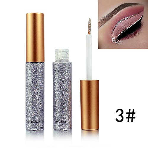 Glitter Liquid Eyeliner for Metallic Cat Eyeliner Shimmer Smoky Eyeshadow,Waterproof Long Lasting Suit for Halloween Makeup Party by BOYON 3#