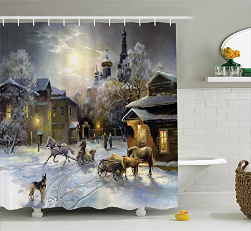 Ambesonne Country Decor Shower Curtain Set, Winter Landscape of A Western Town at Night in New World Rurals in Retro Style Art Print Deco, Bathroom Accessories, 69W X 70L inches, Multi ()